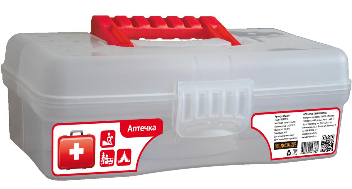 Аптечка Blocker Скорая помощь, цвет: прозрачный, красный, 29,5 х 18 х 9 см аптечка blocker скорая помощь с отсеками цвет прозрачный 29 х 17 х 13 см
