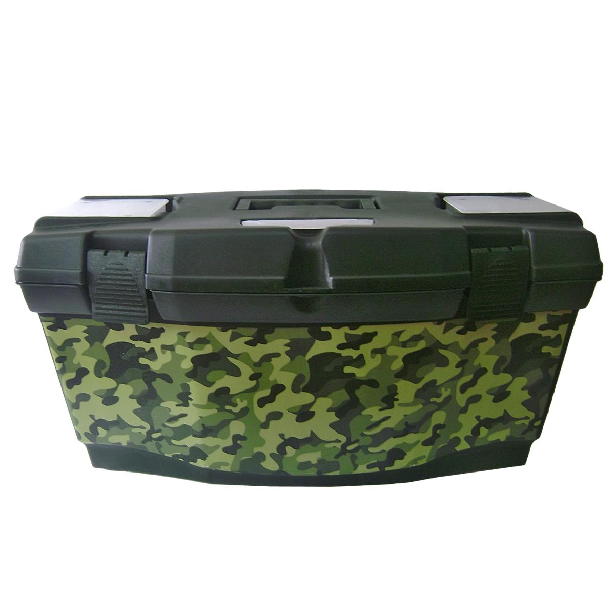 Ящик для инструментов Blocker Master Tour. Камуфляж, цвет: темно-зеленый, 405 х 215 х 230 ммBR3796ТЗЛ-КамуфМногофункциональный ящик Blocker Master Tour. Камуфляж отлично подходит для хранения небольших рыболовных и охотничьих принадлежностей, может быть использован для переноски мангала, посуды и многих вещей, которые могут понадобиться на отдыхе или в путешествии. Ящик изготовлен с применением технологии IML (вплавляемая этикетка), что придает ему привлекательный внешний вид и указывает потребителю на его функциональное назначение.