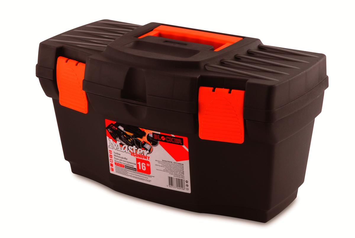 Ящик для инструментов Blocker Master Economy, цвет: черный, оранжевый, 405 х 215 х 230 ммПЦ3708ЧРОРЯщик Blocker Master Economy - это классический ящик эконом-класса для хранения инструмента. Оптимальная форма, никаких переплат за дополнительные опции, но в тоже время абсолютно полноценный ящик с внутренним лотком. Крепкий и надежный. Отверстие для крепления навесного замка позволит защитить инструмент при транспортировке.