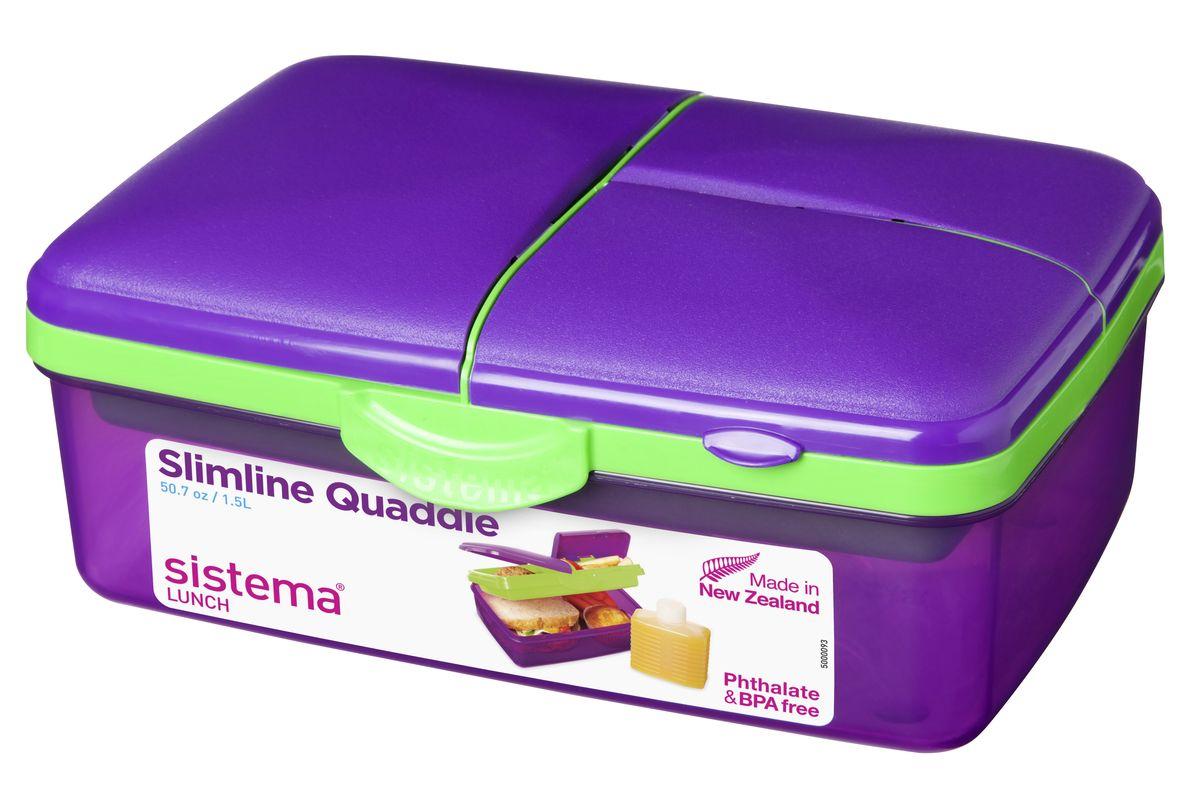 Ланч-бокс Sistema Lunch, 4-секционный, с бутылкой, цвет: фиолетовый, 1,5 л3965_фиолетовыйЛанч-бокс Sistema Lunch представляет собой контейнер универсального назначения. Он имеет четыре секции, предназначенные для хранения и переноски различных продуктов. На крышке имеется силиконовая прокладка, которая способствует герметичному закрыванию клипсами, которые при необходимости можно заменить. В комплект входит бутылочка, в которую вы можете налить любимый напиток и не есть всухомятку.Преимущества ланч-бокса:- технология герметичности продумана таким образом, что ароматы блюд не испаряются при хранении, при этом каждую емкость легко открыть;- конструкция позволяет долго сохранять свежесть продуктов, не допуская их пересыхания или увлажнения;- предметы изготовлены из пластика, который не содержит бисфенола А и S, фталатов;- изделия безопасны для использования на детской кухне;- можно применять для хранения горячего, замораживания и разогрева пищи в микроволновых печах.Благодаря компактным размерам и относительно большой вместимости ланч-бокса Sistema Lunch подойдет для людей, чья жизнь проходит в постоянном движении. Кроме того, вам больше не придется носить с собой сразу несколько контейнеров.Можно мыть в посудомоечной машине.Общий размер ланч-бокса: 23 х 16 х 9 см.Объем ланч-бокса: 1,5 л.Размер бутылки: 11,5 х 9 х 4 см.