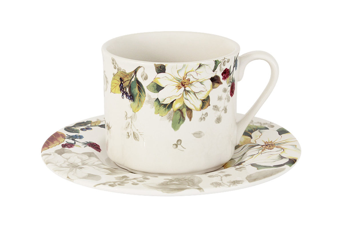 Чайная пара Imari Магнолия, 2 предметаIM15018E-A2119ALЧайная пара Imari Магнолия состоит из чашки и блюдца, изготовленных из высококачественной глазурованной керамики. Яркий дизайн изделий, несомненно, придется вам по вкусу.Чайная пара Imari Магнолия украсит ваш кухонный стол, а также станет замечательным подарком к любому празднику.Изделие можно мыть в посудомоечной машине.Объем чашки: 200 мл.