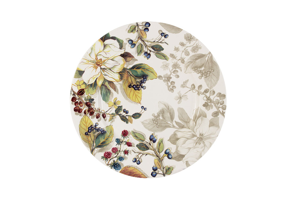 Тарелка Imari Магнолия, диаметр 23 смIM35031-A2119ALТарелка Imari Магнолия изготовлена из высококачественной керамики и декорирована красивым изображением цветов и ягод. Нанесение сверкающей глазури, не содержащей свинца, придает изделию превосходный блеск и особую прочность. Изделие предназначено для подачи вторых блюд или десертов. Тарелка отлично подойдет как для повседневного использования, так и для особых случаев. Благодаря качеству исполнения и красивому дизайну изделие станет отличным приобретением для вашей кухни. Не использовать в СВЧ. Мыть с применением жидких моющих средств и в посудомоечной машине.