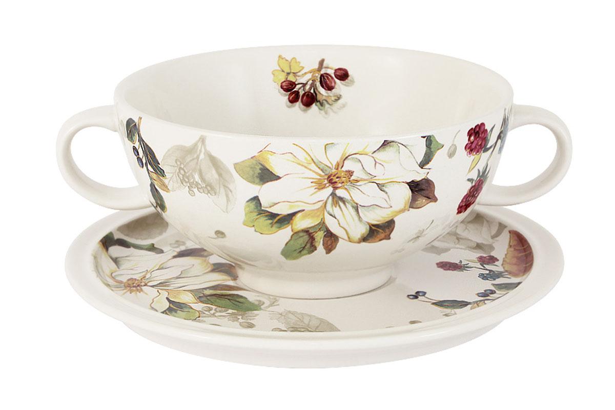 Чашка суповая Imari Магнолия, с блюдцем, 500 млIMB0304-A2119ALСуповая чашка Imari Магнолия изготовлена из высококачественной керамики и декорирована красивым цветочным рисунком. Нанесение сверкающей глазури, не содержащей свинца, придает изделию превосходный блеск и особую прочность. Суповая чашка предназначена для подачи супа, бульона и других жидких блюд. В комплекте предусмотрено блюдце. Две удобные ручки обеспечивают комфортное использование. Изделие отлично подойдет для торжественных случаев. Благодаря качеству исполнения и красивому дизайну изделие станет отличным приобретением для вашей кухни. Не использовать в СВЧ. Мыть с применением жидких моющих средств и в посудомоечной машине.