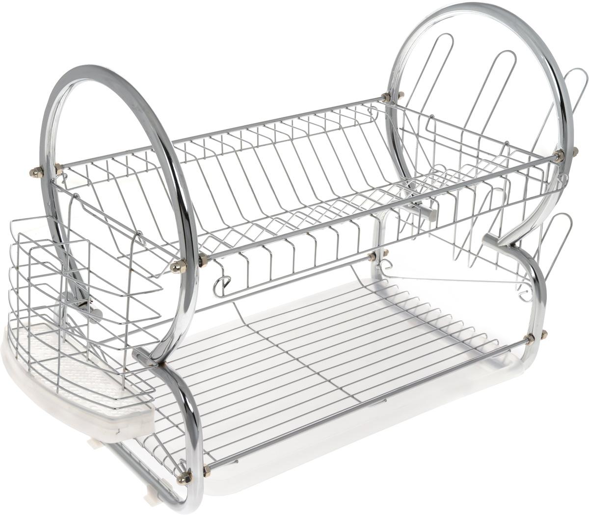"""Двухъярусная сушилка для посуды """"Bekker"""" выполнена из  хромированной нержавеющей стали и пластика. Изделие  оснащено поддоном для стекания воды и подставками для  столовых приборов и стаканов. Сушилка может  быть установлена как на столе, так и подвешена на стену при  помощи крючков (не входят в комплект).  Размер сушилки (с учетом подставок): 50 х 29 х 37 см. Размер поддона: 38 х 24,5 х 2,5 см."""