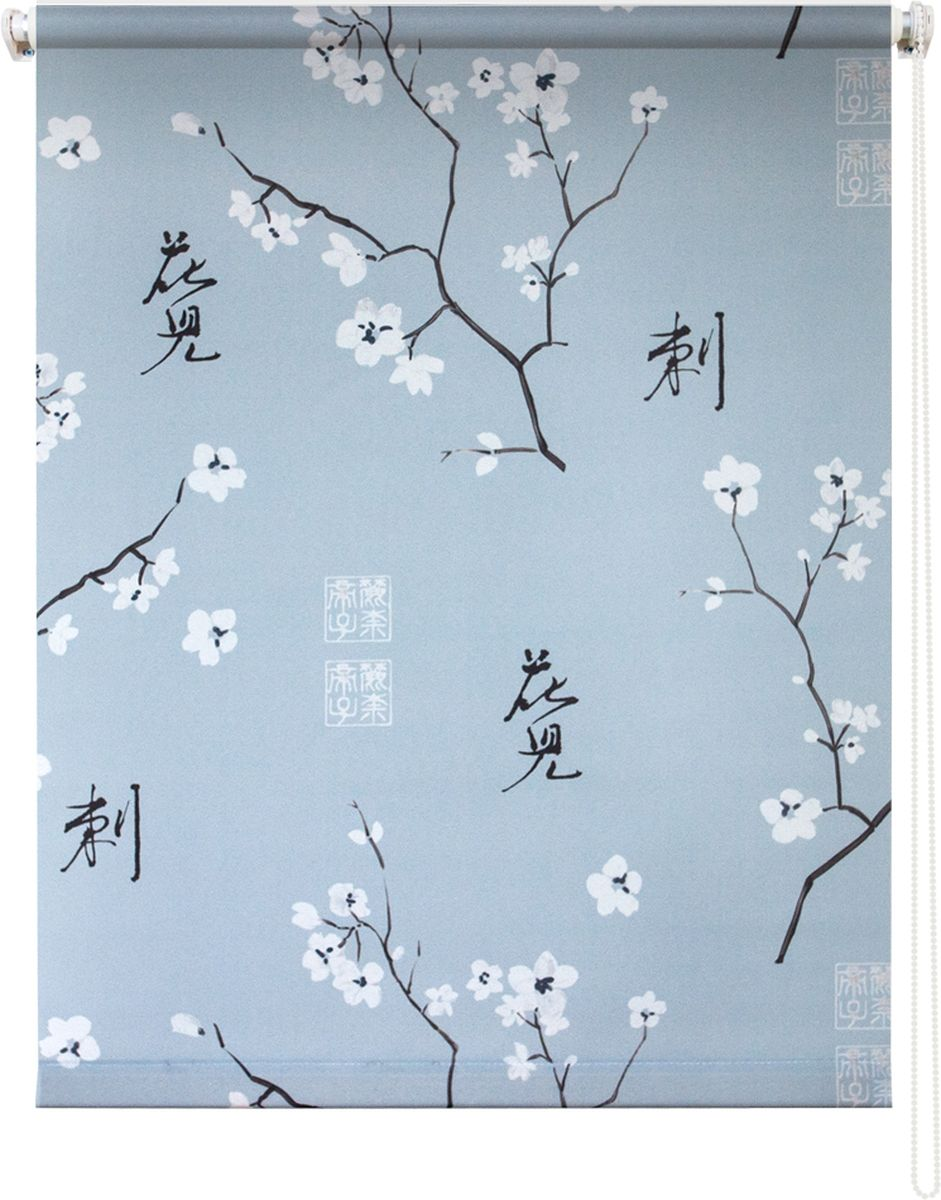 Штора рулонная Уют Япония, цвет: серый, белый, черный, 140 х 175 см штора рулонная уют ажур цвет коричневый 140 х 175 см