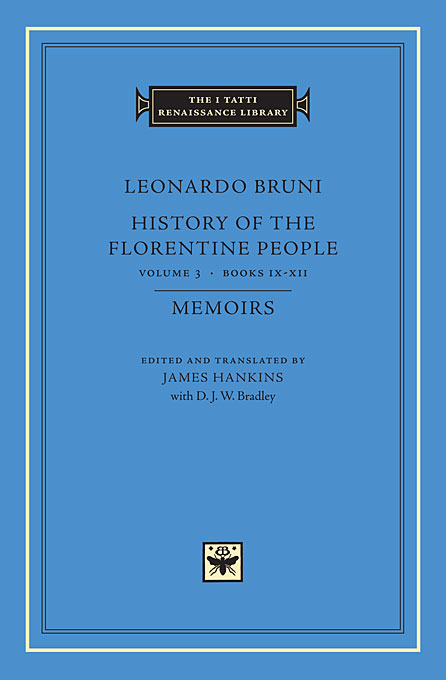 History of the Florentine People V 3 Books IX – XII – Memoirs platonic theology volume 3 books ix–xi s