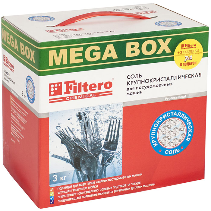 Filtero Соль крупнокристаллическая для посудомоечных машин, 3 кг + 3 таблетки для посудомоечных машин таблетки для посудомоечных машин snowter 5 в 1 16 шт x 20 г