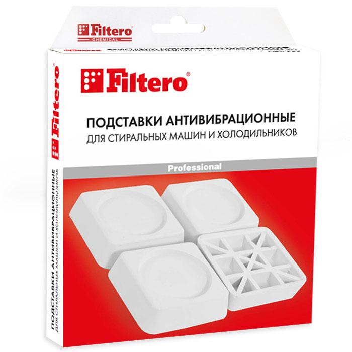 Filtero Подставка антивибрационная для стиральных машин и холодильников909Антивибрационные подставки Filtero предназначены для отдельно стоящих стиральных машин и холодильников. Используются для поглощения вибрации при установке бытовой техники на керамическую плитку, деревянные полы и другие виды покрытий. Защищает напольное покрытие от вмятин и разрывов.Высота амортизирующего слоя и специальный полимерный материал предотвращают скольжение стиральных машин в режиме отжима, а также существенно сокращают возможные вибрацию и шумы.Способ применения:Отрегулируйте горизонтальное положение стиральной машины или холодильника. Подложите подставки Filtero под все ножки прибора. Очередность установки подставок не имеет значения. Убедитесь, что прибор устойчиво опирается на все ножки.