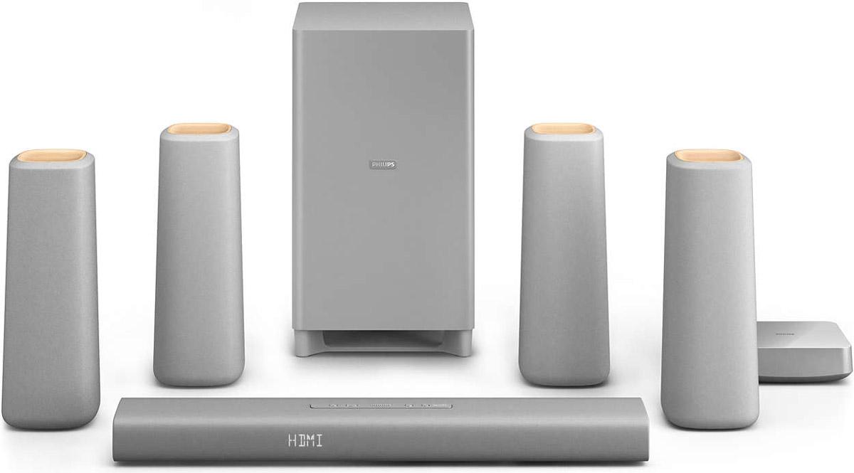 Philips CSS5530G/12 домашний кинотеатрCSS5530G/12АС домашнего кинотеатра Philips Zenit - это лаконичный дизайн и простота использования. Насладитесь естественным сбалансированным звучанием и оцените привлекательный дизайн, выполненный из современных и природных материалов. Умное решение для хранения кабелей и беспроводные тыловые АС гарантируют удобное размещение и максимум впечатлений от прослушивания. HDMI-порт с поддержкой 4K2K для просмотра контента Ultra HD:HDMI 4K2K поддерживает стандарт HDMI 1.4, за счет чего обеспечивается поддержка видеоконтента сверхвысокой четкости (UHD). В настоящее время максимальное разрешение формата 4К составляет 4096 пикселей в ширину и 2160 пикселей в высоту — оно в 4 раза превышает разрешение стандартного HD-дисплея 1080p. Также формат 4К может иметь более низкое разрешение — 3840 х 2160 пикселей. Оба формата поддерживаются стандартом HDMI 1.4. Благодаря 4K-дисплеям современные системы домашних кинотеатров не уступают системам, которые используются в коммерческих кинотеатрах. Технологии 4К-телевизоров продолжают развиваться, поэтому Philips интегрировали поддержку этого стандарта, чтобы АС отвечала требованиям будущих разработок.Удобное подключение к смартфонам с поддержкой NFC по Bluetooth одним касанием:Технология NFC (Near Field Communications) позволяет выполнять подключение устройств по Bluetooth одним касанием. Поднесите смартфон или планшетный ПК с поддержкой NFC к АС и коснитесь поля NFC, чтобы включить систему. Установите Bluetooth-подключение и запустите потоковую передачу музыки.Объемное звучание Dolby Digital и Pro Logic II:Встроенный декодер Dolby Digital устраняет необходимость иметь внешний декодер за счет обработки всех шести аудиоканалов для создания эффекта объемного звука и поразительно естественной и динамически реалистичной атмосферы звучания. Декодер Dolby Pro Logic II дает пять каналов объемной обработки звука от любого стереофонического источника.АС MTM-конфигурации для реалистичного звучания при высокой гр