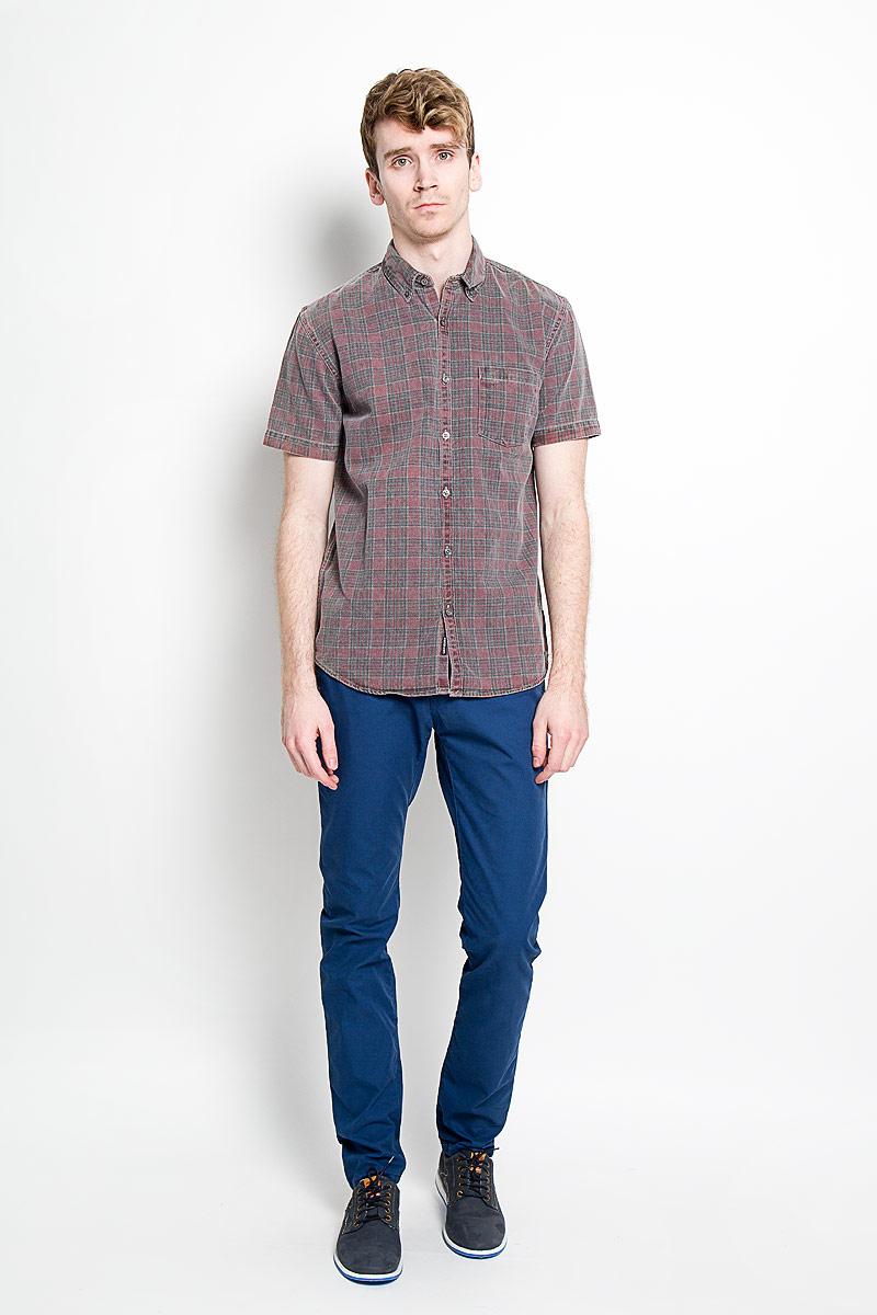 Рубашка мужская Quiksilver, цвет: красный, серый. EQYWT03289-RRA1. Размер L (50/52) шорты мужские quiksilver цвет черный голубой оранжевый eqyjv03054 bmj6 размер l 50 52