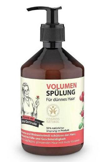 Рецепты бабушки Гертруды Бальзам для волос объем, 500 мл074-4879В состав кондиционера входят природные компоненты благодаря чему он бережно ухаживает за тонкими волосами, придает им пышность и объем, значительно облегчая процесс расчесывания. Клюква содержит жирные кислоты Омега 3 и витамин Е, который является мощным природным антиоксидантом, он глубоко питает и разглаживает волосы. Органическое масло пшеницы содержит в себе уникальный комплекс из 18-ти аминокислот, витаминов и микроэлементов, которые интенсивно увлажняют и способствуют восстановлению структуры волос, делая их более блестящими и упругими. Особенности состава: 98% ингредиентов натурального происхождения, Пшеница и клюква защищают волосы, придают им эластичность и объем. Результат: более ухоженные, блестящие и объемные волосы.