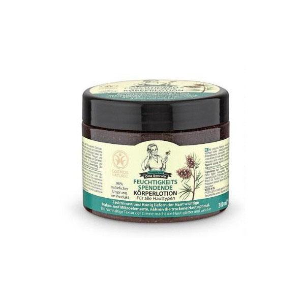 Рецепты бабушки Гертруды Крем для тела увлажняющий, 300 мл074-4992В состав крема для тела входят природные компоненты, которые интенсивно насыщают кожу влагой, делая ее более гладкой и нежной. Кедр содержит огромное количество витаминов, макро и микроэлементами, является ценнейшим источником полиненасыщенных жирных кислот (Омега-3) и антиоксидантов. Способствует восстановлению естественного уровня увлажненности, смягчает и питает кожу. Экстракт меда относится к продуктам высокой биологической ценности, он нормализует клеточный обмен веществ, оказывает омолаживающее действие и делает кожу более упругой и эластичной. Особенности состава: 98% ингредиентов натурального происхожденияРезультат: Кедр является отличным источником макро - и микроэлементов, необходимых коже. Мед интенсивно питает кожу, а насыщенная текстура крема делает кожу более гладкой и мягкой.