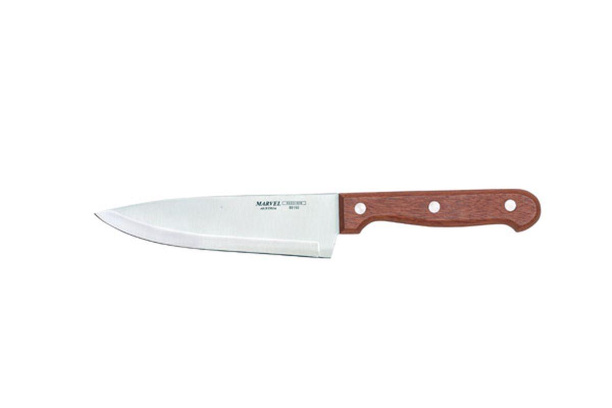 Нож поварской Marvel Rose Wood, длина лезвия 15 см89160Поварской нож Marvel Rose Wood очень полезен для нарезки колбасы, сыра, лука, хлеба, пучков салата. Вполне универсален, один из самых нужных на кухне ножей. Лезвие выполнено из высококачественной стали. Эргономичная рукоятка не скользит в руках и делает нарезку удобной и безопасной. Благодаря уникальной формуле стали и качеству ее обработки, лезвие имеет высокий показатель твердости, что позволяет ему долго сохранять острую заточку.Нож Marvel Rose Wood займет достойное место среди аксессуаров на вашей кухне.Длина ножа: 27 см.
