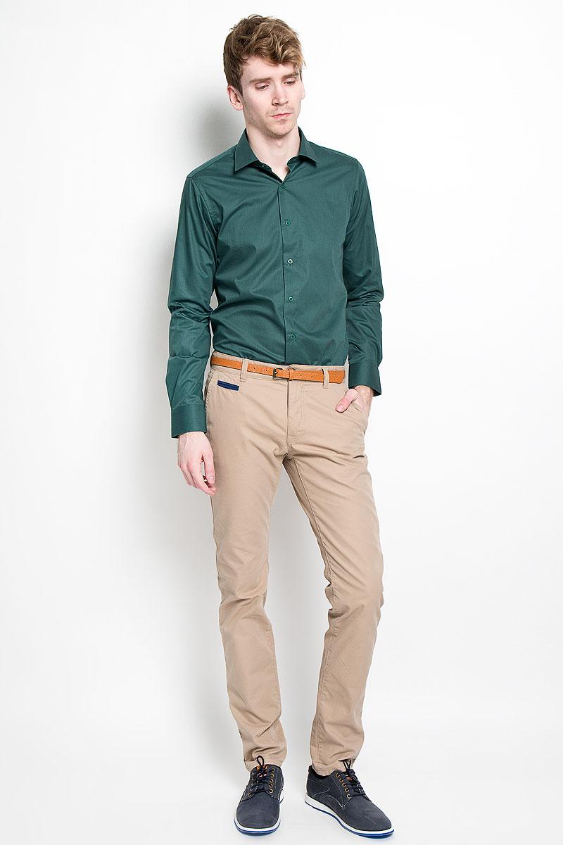 Рубашка мужская KarFlorens, цвет: темно-зеленый. SW 81_04. Размер 39/40 (46/170) рубашка мужская karflorens цвет коричневый красный белый sw 62 02 размер 41 42 50 52 176