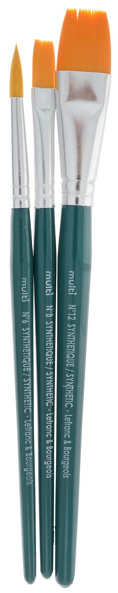 Набор кистей LeFranc Multi, 3 штLF120102Кисти из набора LeFranc Multi идеально подойдут для работы с акриловыми красками и прочими искусственными эмульсиями, а также с темперой, гуашью, акварелью и масляными красками. В набор входят кисти Round №6 - овальная и №8, 12 - плоские. Кисти изготовлены из синтетической щетины. Деревянные ручки оснащены алюминиевыми втулками с двойным обжимом.Длина кистей: №6 - 16 см; №8 - 19 см; №12 - 20,5.Длина ворса: №6 - 2 см, №8 - 1,7 см, №12 - 2,1 см.