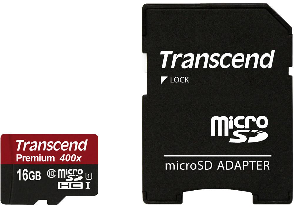 Transcend Premium microSDHC Class 10 UHS-I 400x 16GB карта памяти с адаптеромTS16GUSDU1_Карты памяти Transcend microSDXC/SDHC UHS-I были созданы для того, чтобы повысить эффективность работы с вашим смартфоном или планшетом, и соответствуют всем требованиям стандарта Ultra High Speed Class 1. Построенные на основе самых современных технологий, эти карты обеспечивают максимальный уровень производительности в требовательных к работе подсистемы памяти играх и приложениях, а также позволяют без задержек воспроизводить Full HD-видео с полной кадровой частотой.Чтобы гарантировать максимальный уровень производительности и надежности, Transcend испытывает свои карты памяти microSD в наиболее суровых условиях эксплуатации. Данная модель соответствует стандарту IPX7 и сохраняет работоспособность даже после погружения на 30 минут в воду на глубину до 1 м. Карты этой серии защищены от статического электричества: им не страшны статические заряды, поскольку они выполнены в соответствии с нормами стандарта EMC IEC61000-4-2.Карты памяти отличаются прекрасной ударопрочностью, виброустойчивостью, высокой жесткостью корпуса на изгиб и кручение. Имеется также защита от рентгеновского излучения: соответствуют стандарту ISO7816-1 и не подвержены влиянию используемых в аэропортах рентгеновских сканеров.Скорость передачи данных: до 60 МБ/с