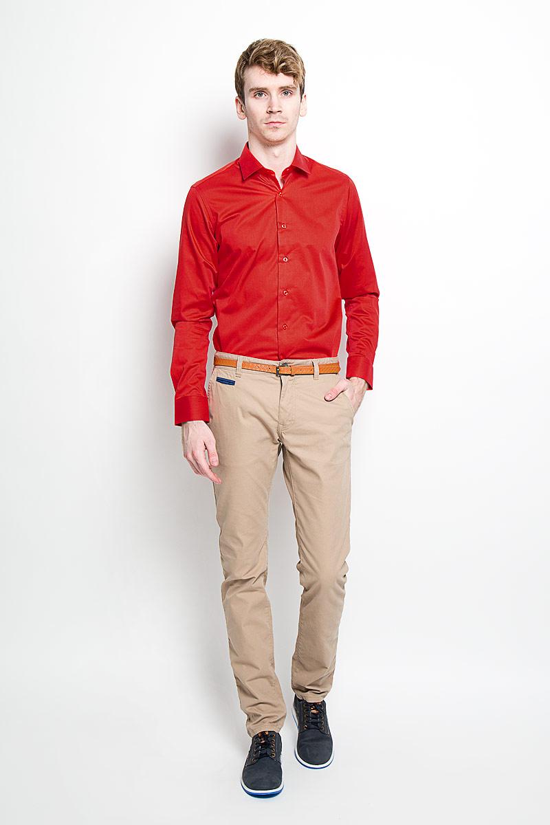Рубашка мужская KarFlorens, цвет: красный. SW 81_01. Размер 41/42 (50-52/182) рубашка мужская karflorens цвет коричневый красный белый sw 62 02 размер 41 42 50 52 176