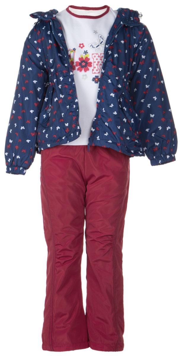 Комплект для девочки M&D: футболка с длинным рукавом, куртка, брюки, цвет: темно-синий, темно-красный, белый. 104575RD-9. Размер 104104575RD-9Комплект для девочки M&D, состоящий из футболки с длинным рукавом, куртки и брюк, идеально подойдет для вашего ребенка в прохладное время года.Куртка изготовлена из 100% полиэстера с подкладкой из мягкого флиса. Модель с несъемным капюшоном и длинными рукавами застегивается на пластиковую застежку-молнию с защитой подбородка. Низ рукавов присборен на резинки. Линия талии на спинке также дополнена резинкой. Предусмотрена утяжка в виде резинок со стопперами: на капюшоне и внутри изделия понизу. Спереди имеются два накладных кармана с декоративными клапанами, один из которых украшен вышивкой. Оформлена куртка мелким принтом в виде бабочек. Брюки выполнены из 100% полиэстера с подкладкой из натурального хлопка. Модель на талии имеет широкую резинку, благодаря чему брюки не сдавливают живот ребенка и не сползают. По бокам модель дополнена двумя втачными кармашками со скошенными краями, а сзади - накладным карманом. Понизу брючин предусмотрена утяжка в виде резинок со стопперами. Оформлено изделие декоративными нашивками в виде бабочек. Футболка с длинным рукавом изготовлена из натурального хлопка. Модель с круглым вырезом горловины оформлена на груди оригинальным принтом и блестящими рисунками. Горловина дополнена мягкой трикотажной бейкой. Комфортный, удобный и практичный комплект идеально подойдет для прогулок и игр на свежем воздухе!