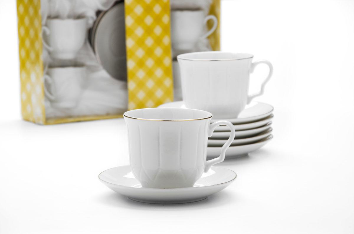 Набор чайный Loraine, 12 предметов. 2561325613Набор имеет красивый нежный дизайн. Состоит из 12 предметов: чашка-6 шт (220 мл) и блюдце-6 шт. Набор изготовлен из качественной керамики. Керамика безопасна для здоровья и надолго сохраняет тепло напитка. Изысканно белый цвет с золотым декором придает набору элегантный вид. Набор аккуратно сложен в подарочную упаковку. Размеры: чашка - D8,5 х7 см, блюдце - D13,5 см. Станет прекрасным украшением сервировки стола, а процесс чаепития превратится в одно удовольствие! Прекрасный выбор для подарка родным и друзьям.