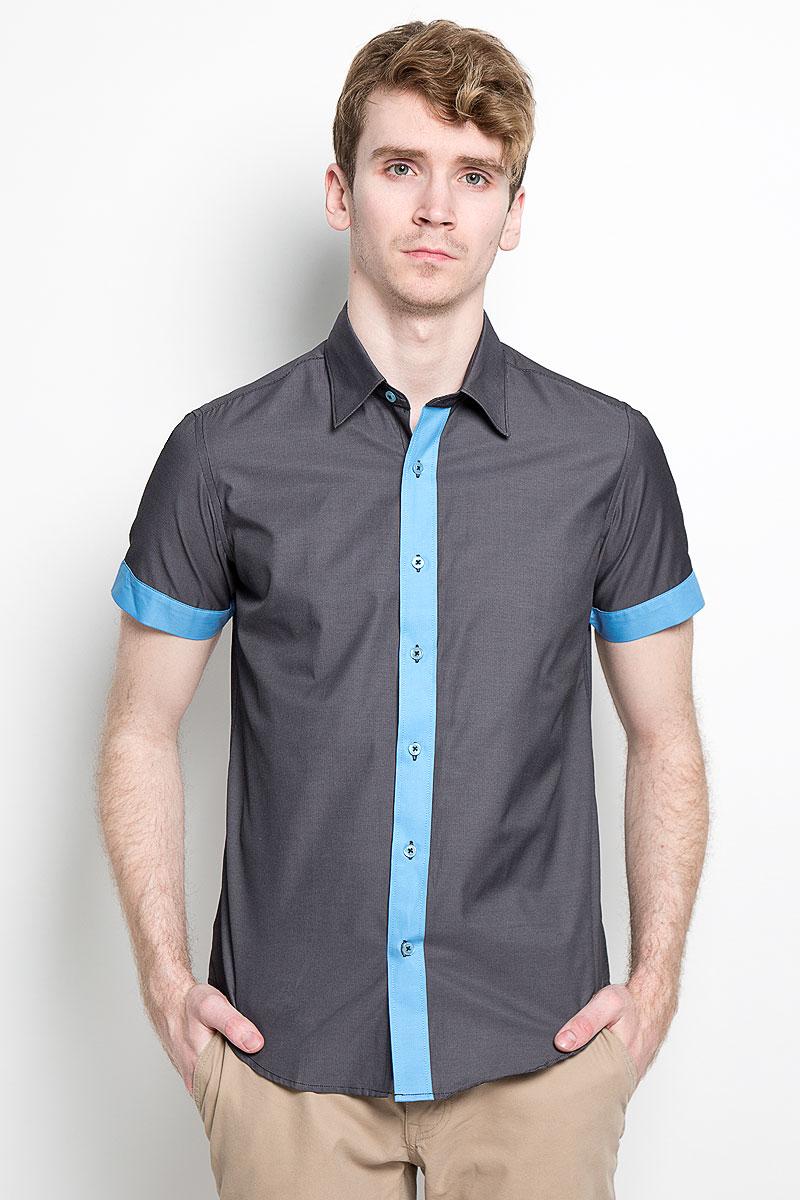 Рубашка мужская KarFlorens, цвет: темно-серый, голубой. SW 69_02. Размер 39/40 (48/176)