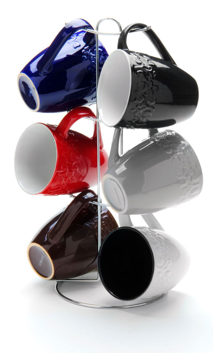 Набор чашек Loraine, на подставке, 390 мл, 7 предметов. 2465324653Этот набор состоит из шести кружек, расположенных на металлической подставке. Кружки изготовлены из высококачественной керамики и оформлены стильным рисунком Кофе. Изящный дизайн придется по вкусу и ценителям классики, и тем, кто предпочитает утонченность и изысканность. Он настроит на позитивный лад и подарит хорошее настроение с самого утра. Набор кружек LORAINE - идеальный и необходимый подарок для вашего дома и для ваших друзей в праздники.