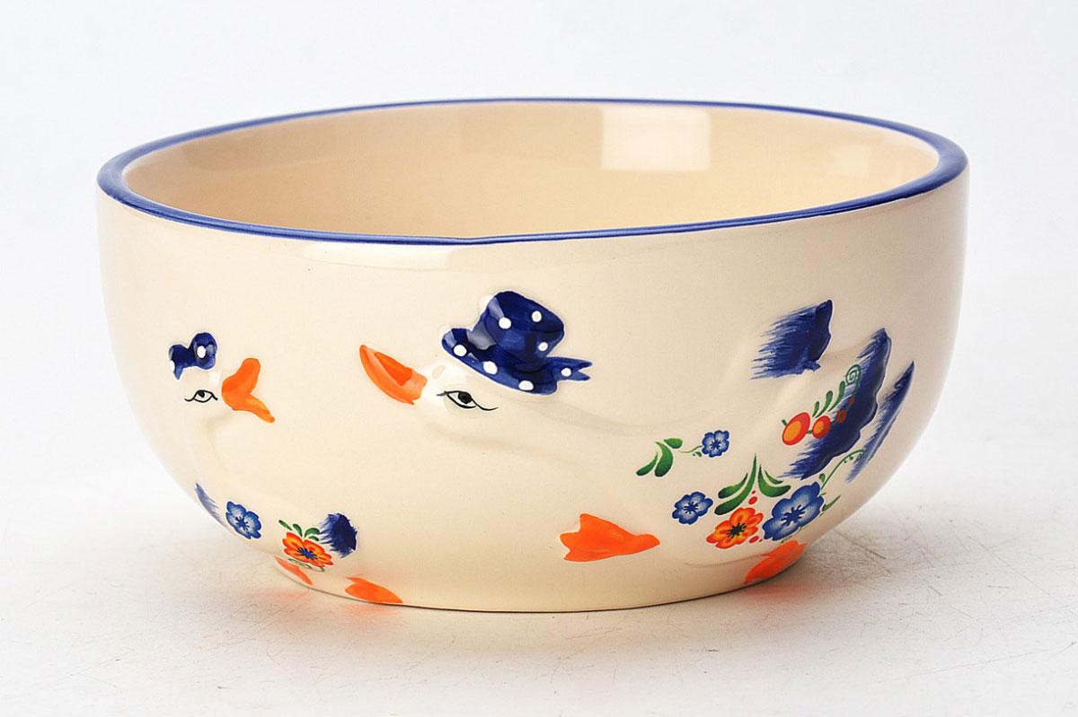 Супница Loraine Гуси, 580 млH9229_с розовой полосойСупница изготовлена из доломитовой керамики высокого качества и оформлена красивым рисунком.Изделие легко мыть как вручную, так и в посудомоечной машине.Диаметр супницы: 13,5 см. Высота супницы: 6,5 см. Объем супницы: 580 мл.