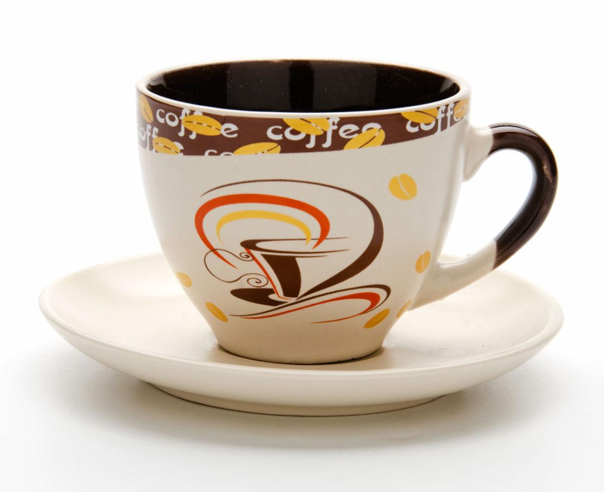 Набор чайный Mayer & Boch, на подставке, 13 предметов. 2353923539Чайный набор состоит из 6 чашек, 6 блюдец и металлической подставки. Предметы набора изготовлены из высококачественной керамики в коричневых тонах и оформлены стильным рисунком Кофе. Чайный набор идеально подойдет для сервировки стола и станет отличным подарком к любому празднику. Изделия можно компактно хранить на подставке, входящей в набор. Подходит для мытья в посудомоечной машине.Объем чашки: 220 мл.