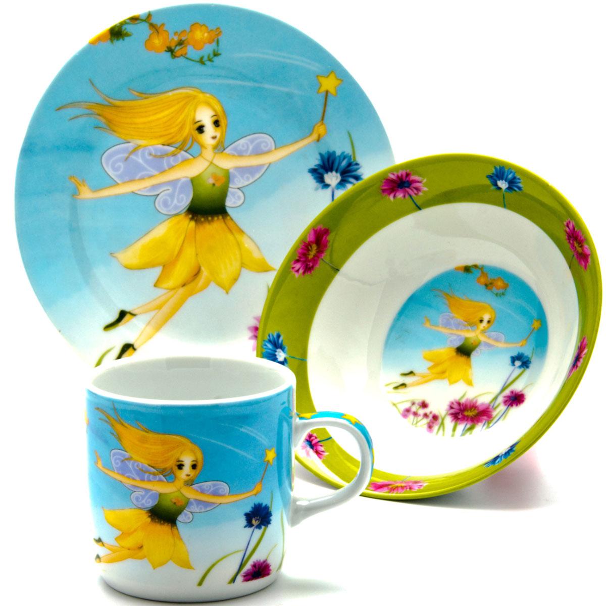 Набор посуды Loraine Фея, 3 предмета24026Набор посуды Loraine сочетает в себе изысканный дизайн с максимальной функциональностью. В набор входят суповая тарелка, обеденная тарелка и кружка.Предметы набора выполнены из высококачественной керамики, декорированы красочным рисунком. Благодаря такому набору обед вашего ребенка будет еще вкуснее. Набор упакован в красочную, подарочную упаковку. Диаметр суповой тарелки: 15 см.Диаметр обеденной тарелки: 17,5 см.Объем кружки: 230 мл.