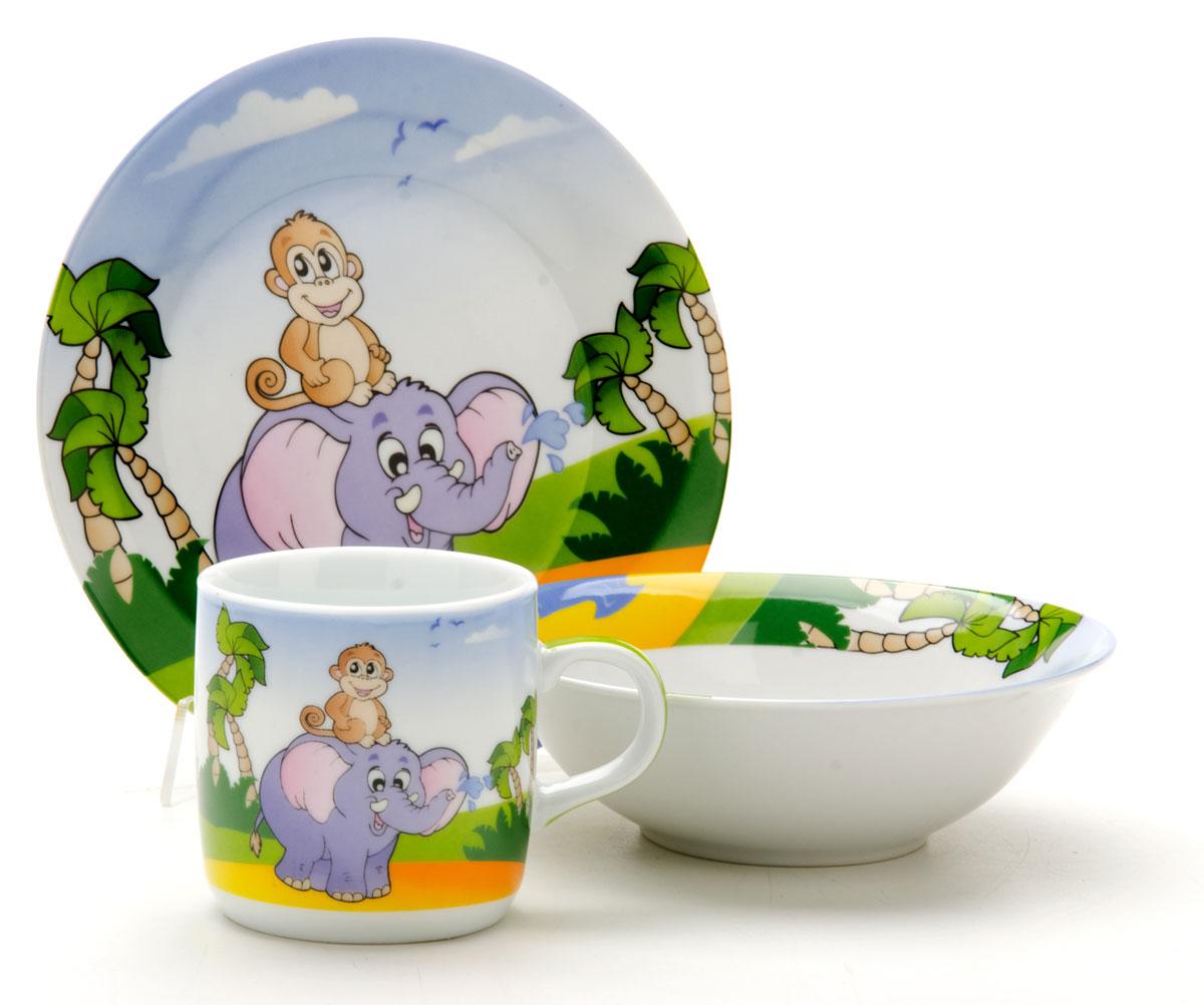 Набор посуды Loraine Слоник, 3 предмета25600Набор посуды Loraine сочетает в себе изысканный дизайн с максимальной функциональностью. В набор входят суповая тарелка, обеденная тарелка и кружка.Предметы набора выполнены из высококачественной керамики, декорированы красочным рисунком. Благодаря такому набору обед вашего ребенка будет еще вкуснее. Набор упакован в красочную, подарочную упаковку. Диаметр суповой тарелки: 15 см.Диаметр обеденной тарелки: 17,5 см.Объем кружки: 230 мл.