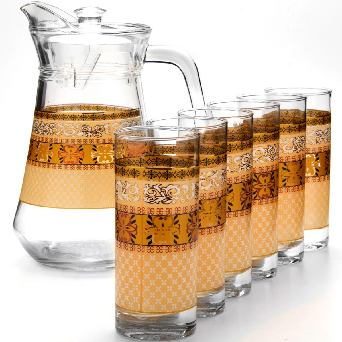 Набор питьевой Loraine, 7 предметов. 2406624066Питьевой набор Loraine внесет яркий акцент в сервировку стола и станет отличным дополнением к набору аксессуаров и принадлежностей для кухни. Его можно использовать для подачи компотов, соков, воды, лимонада.Посуда выполнена из высококачественного стекла и декорирована оригинальным цветочным рисунком.В набор входят кувшин с крышкой и 6 стаканов.Объем кувшина: 1300 мл. Объем стакана: 285 мл.