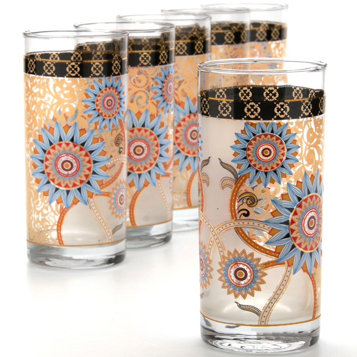 Набор, состоящий из шести стаканов, несомненно, придется вам по душе.  Стаканы выполнены из высококачественного стекла в мягких тонах с оригинальным узором.  Благодаря такому набору пить напитки будет еще вкуснее.  Объем стакана: 370 мл.