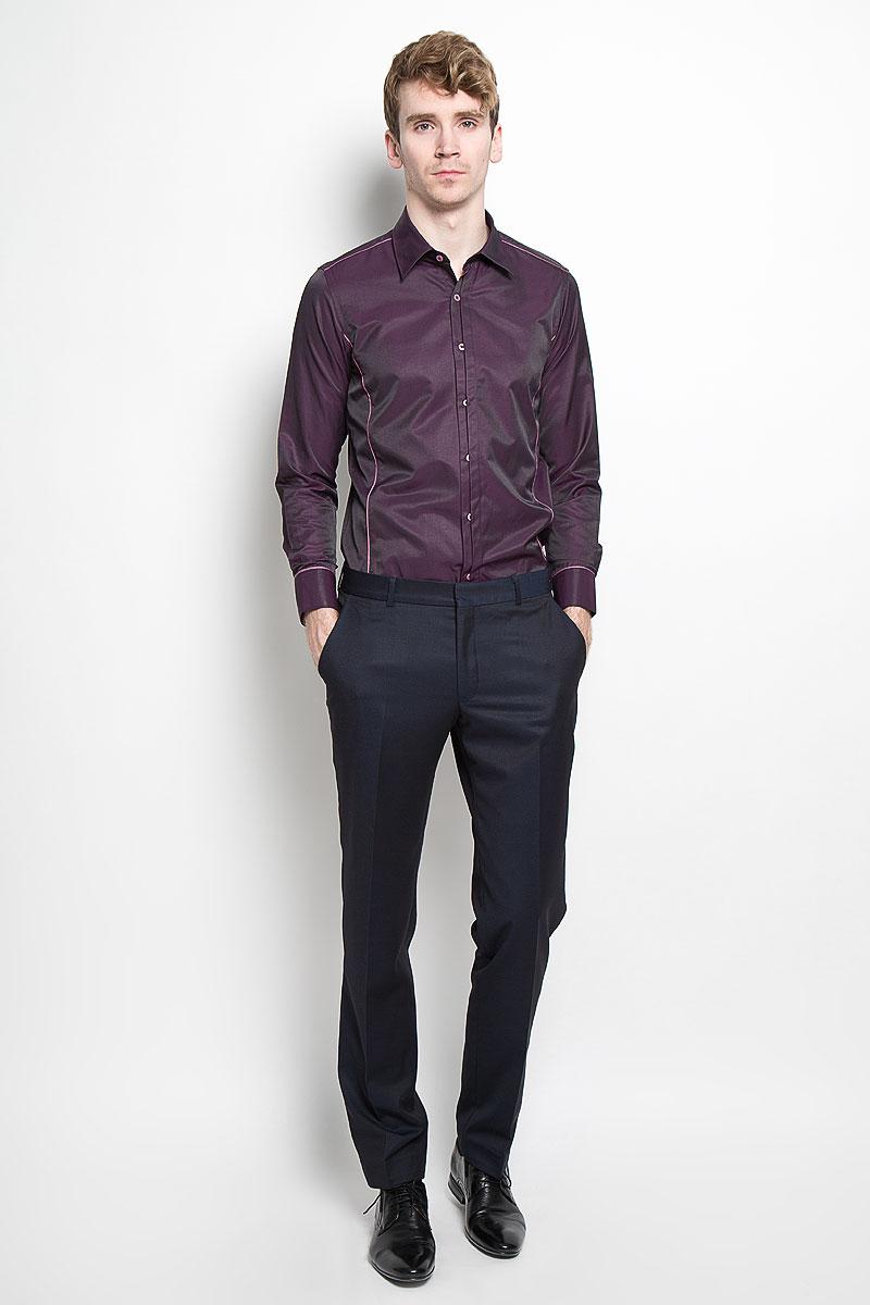 Рубашка мужская KarFlorens, цвет: баклажановый. SW 68-01. Размер 43/44 (54/182) рубашка мужская karflorens цвет коричневый красный белый sw 62 02 размер 41 42 50 52 176