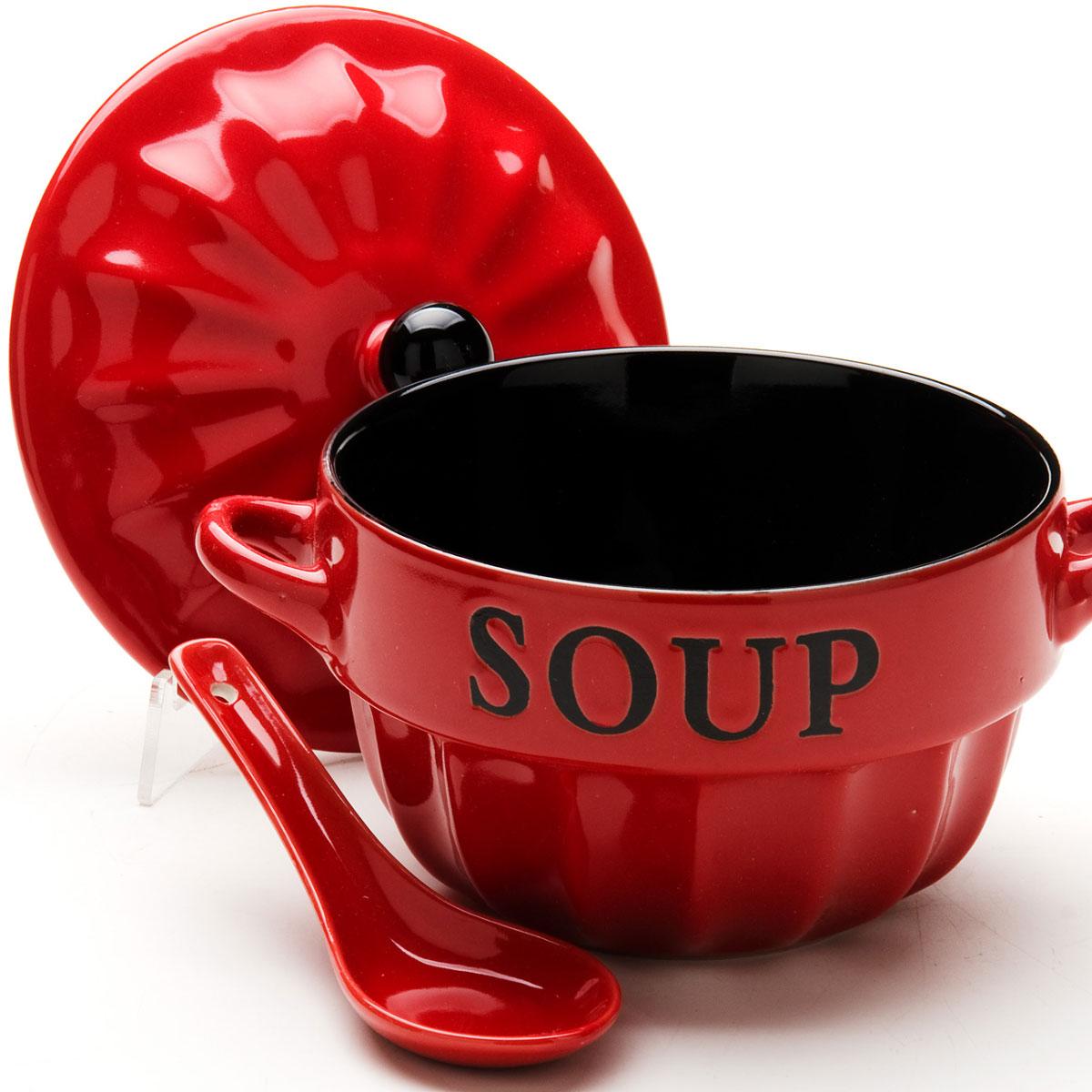 Супница Loraine, с ложкой, цвет: красный, черный, 775 мл24237-4Супница Loraine, выполнена из высококачественной керамики. Изделие оснащено двумя удобными ручками.Супница достаточно вместительна, поэтому прекрасно подойдет для подачи жидких блюд вместо обычной глубокой тарелки. Яркий дизайн и эстетичные формы украсят интерьер кухни и порадуют вас и ваших гостей. Он настроит на позитивный лад и подарит хорошее настроение. Набор является экологически безопасным, так как не содержит кадмия и свинца.Пригоден для использования в микроволновой печи, холодильнике.Можно мыть в посудомоечной машине.Супница Loraine - идеальный и необходимый подарок для вашего дома и для ваших друзей. Она станет украшением любой кухни.Диаметр супницы (по верхнему краю): 14 см.Высота (без крышки): 9 см.Длина ложки: 13,5 см.Ширина рабочей части: 4,9 см.