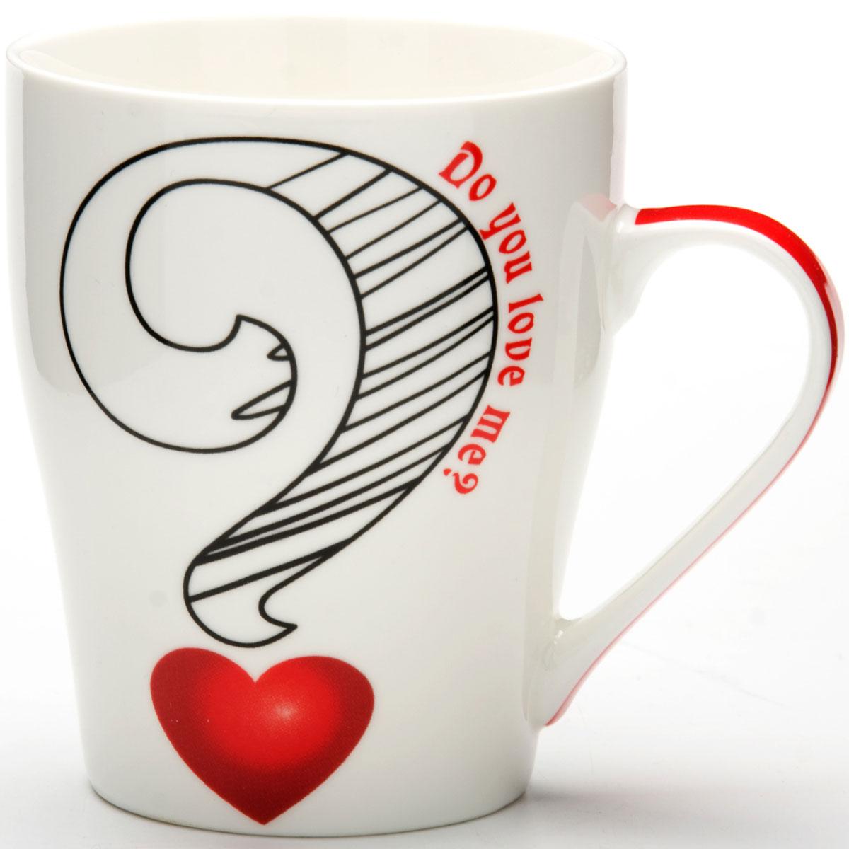 Кружка Loraine I Love You, 340 мл. 2446324463Кружка изготовлена из высококачественного костяного фарфора и оформлена стильным рисунком. Изящный дизайн придется по вкусу и ценителям классики, и тем, кто предпочитает утонченность и изысканность. Объем кружки: 340 мл.Высота кружки: 11 см.