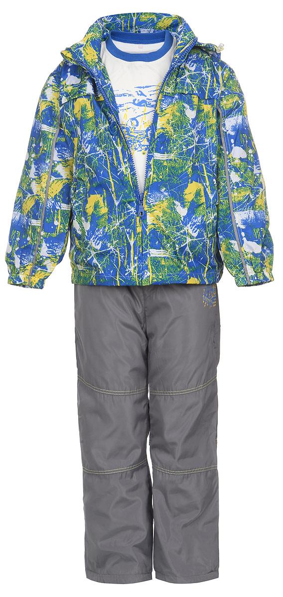Комплект для мальчика M&D: футболка с длинным рукавом, ветровка, брюки, цвет: синий, желтый, серый, белый. 104678D-28. Размер 104104678D-28Комплект для мальчика M&D, состоящий из футболки с длинным рукавом, ветровки и брюк, идеально подойдет для вашего ребенка в прохладное время года.Ветровка изготовлена из 100% полиэстера с подкладкой из натурального хлопка. Модель с воротником-стойкой, съемным капюшоном на молнии и длинными рукавами застегивается на пластиковую застежку-молнию с защитой подбородка. Низ рукавов присборен на резинки. Предусмотрена утяжка в виде резинок со стопперами: на капюшоне и внутри изделия понизу. Спереди имеются два прорезных кармана на застежках-молниях. Оформлена ветровка оригинальным принтом. Брюки выполнены из 100% полиэстера с подкладкой из натурального хлопка. Модель на талии имеет широкую резинку, благодаря чему брюки не сдавливают живот ребенка и не сползают. По бокам модель дополнена двумя втачными кармашками со скошенными краями. Понизу брючин предусмотрена утяжка в виде резинок со стопперами. Оформлено изделие контрастной прострочкой и оригинальной термоаппликацией. Светоотражающие элементы на ветровке и брюках не оставят вашего ребенка незамеченным в темное время суток. Футболка с длинным рукавом изготовлена из натурального хлопка. Модель с круглым вырезом горловины оформлена на груди оригинальным принтом. Горловина дополнена мягкой трикотажной резинкой. Комфортный, удобный и практичный комплект идеально подойдет мальчику для прогулок и игр на свежем воздухе!