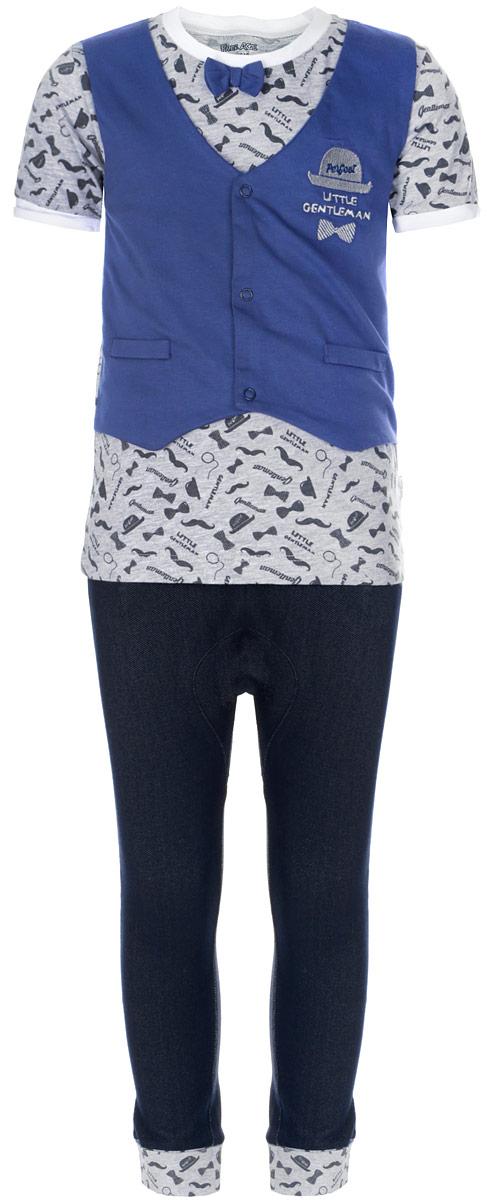 Комплект для мальчика Free Age: футболка, брюки, цвет: серый, синий, темно-синий. ZBB 21022-BG-1. Размер 110, 5 летZBB 21022-BG-1Очаровательный комплект для мальчика Free Age, состоящий из футболки и брюк, идеально подойдет вашему малышу. Изготовленный из хлопка с добавлением полиэстера и эластана, он необычайно мягкий и приятный на ощупь, не сковывает движения ребенка и позволяет коже дышать, не раздражает даже самую нежную и чувствительную кожу малыша, обеспечивая наибольший комфорт. Футболка с круглым вырезом горловины и короткими рукавами украшена несъемной имитацией жилетки на кнопках. Модель оформлена оригинальным принтом и украшена небольшим декоративным бантиком, а также вышивкой в виде шляпы и галстука-бабочки с надписью Perfect Little Gentleman. Вырез горловины дополнен контрастной трикотажной резинкой, края рукавов - декоративными отворотами контрастного цвета.Брюки имеют широкий эластичный пояс, не сдавливающий животик ребенка. Объем талии регулируется при помощи скрытого шнурка. Низ брючин дополнен широкими эластичными манжетами с декоративными отворотами. Изделие дополнено двумя втачными карманами спереди и украшено имитацией ширинки. В таком комплекте ваш малыш будет чувствовать себя уютно и комфортно, и всегда будет в центре внимания.