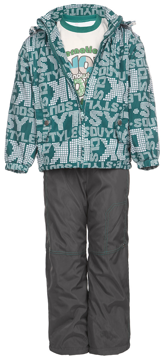 Комплект для мальчика M&D: футболка с длинным рукавом, куртка, брюки, цвет: темно-бирюзовый, белый, темно-серый. 104253RD-28. Размер 110104253RD-28Комплект для мальчика M&D, состоящий из футболки с длинным рукавом, куртки и брюк, идеально подойдет для вашего ребенка в прохладное время года.Куртка изготовлена из 100% полиэстера с подкладкой из мягкого флиса. Модель с воротником-стойкой, съемным капюшоном на молнии и длинными рукавами застегивается на пластиковую застежку-молнию с защитой подбородка. Низ рукавов присборен на резинки. Предусмотрена утяжка в виде резинок со стопперами: на капюшоне и внутри изделия понизу. Спереди имеются два прорезных кармана, украшенные клапанами с декоративными кнопками. Оформлена куртка оригинальным принтом. Брюки выполнены из 100% полиэстера с подкладкой из натурального хлопка. Модель на талии имеет широкую резинку, благодаря чему брюки не сдавливают живот ребенка и не сползают. По бокам модель дополнена двумя втачными кармашками со скошенными краями. Понизу брючин предусмотрена утяжка в виде резинок со стопперами. Оформлено изделие контрастной прострочкой и металлическими клепками.Светоотражающие элементы на куртке и брюках не оставят вашего ребенка незамеченным в темное время суток. Футболка с длинным рукавом изготовлена из натурального хлопка. Модель с круглым вырезом горловины оформлена на груди оригинальным принтом. Горловина дополнена мягкой трикотажной резинкой. Комфортный, удобный и практичный комплект идеально подойдет для прогулок и игр на свежем воздухе!
