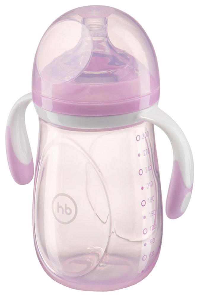 Happy Baby Бутылочка для кормления с ручками и антиколиковой силиконовой соской цвет сиреневый 300 мл