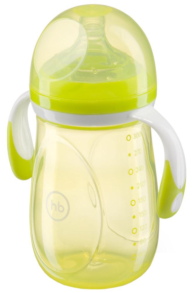 Happy Baby Бутылочка для кормления с ручками и антиколиковой силиконовой соской цвет салатовый 300 мл