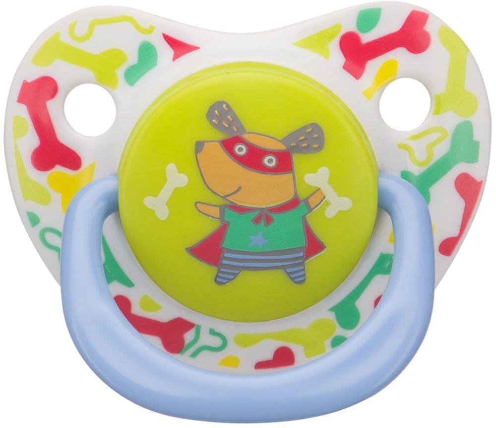 Happy Baby Соска-пустышка силиконовая с колпачком Собачка от 12 до 24 месяцев