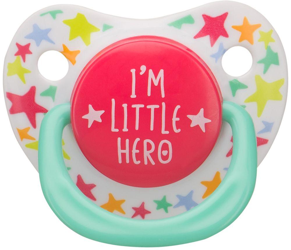 Happy Baby Соска-пустышка ортодонтическая силиконовая с колпачком Я герой от 0 до 12 месяцев