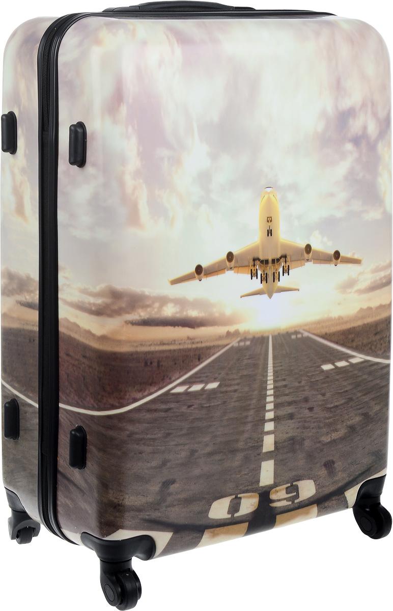 Чемодан Lucky Club Самолет, цвет: белый, серый, 98 л ручки оконные с замком в москве