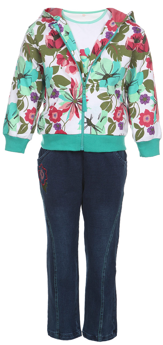 Комплект для девочки M&D: футболка с длинным рукавом, толстовка, брюки, цвет: белый, бирюзовый, темно-синий. 103708-28. Размер 110103708-28Комплект для девочки M&D, состоящий из футболки с длинным рукавом, толстовки и брюк, идеально подойдет вашей малышке для игр на свежем воздухе и дома.Толстовка с капюшоном и длинными рукавами изготовлена из 100% хлопка. Модель застегивается на пластиковую застежку-молнию с защитой подбородка. Манжеты рукавов и низ толстовки дополнены трикотажными резинками. На талии куртка дополнена эластичной резинкой. Спереди имеются два накладных открытых кармана. Толстовка оформлена красочным цветочным принтом. Брюки выполнены из 100% хлопка и стилизованы под джинсы. Модель на талии имеет широкую резинку, благодаря чему брюки не сдавливают живот ребенка и не сползают. По бокам модель дополнена двумя втачными кармашками со скошенными краями. Изделие украшено вышивкой в виде цветка и декоративной контрастной отстрочкой. Футболка с длинным рукавом изготовлена из натурального хлопка. Модель с круглым вырезом горловины оформлена на груди крупным принтом с изображением цветов. Горловина дополнена мягкой контрастной окантовкой. Комфортный, удобный и практичный комплект идеально подойдет для прогулок и игр на свежем воздухе!