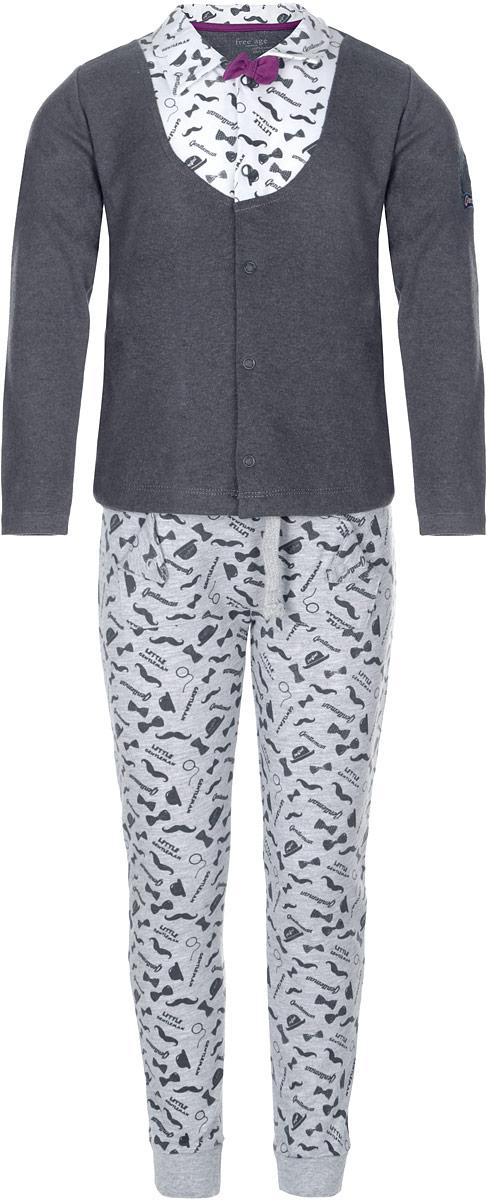 Комплект для мальчика Free Age: кофта, брюки, цвет: темно-серый, серый. ZBB 21018-GGW-1. Размер 98, 3 года