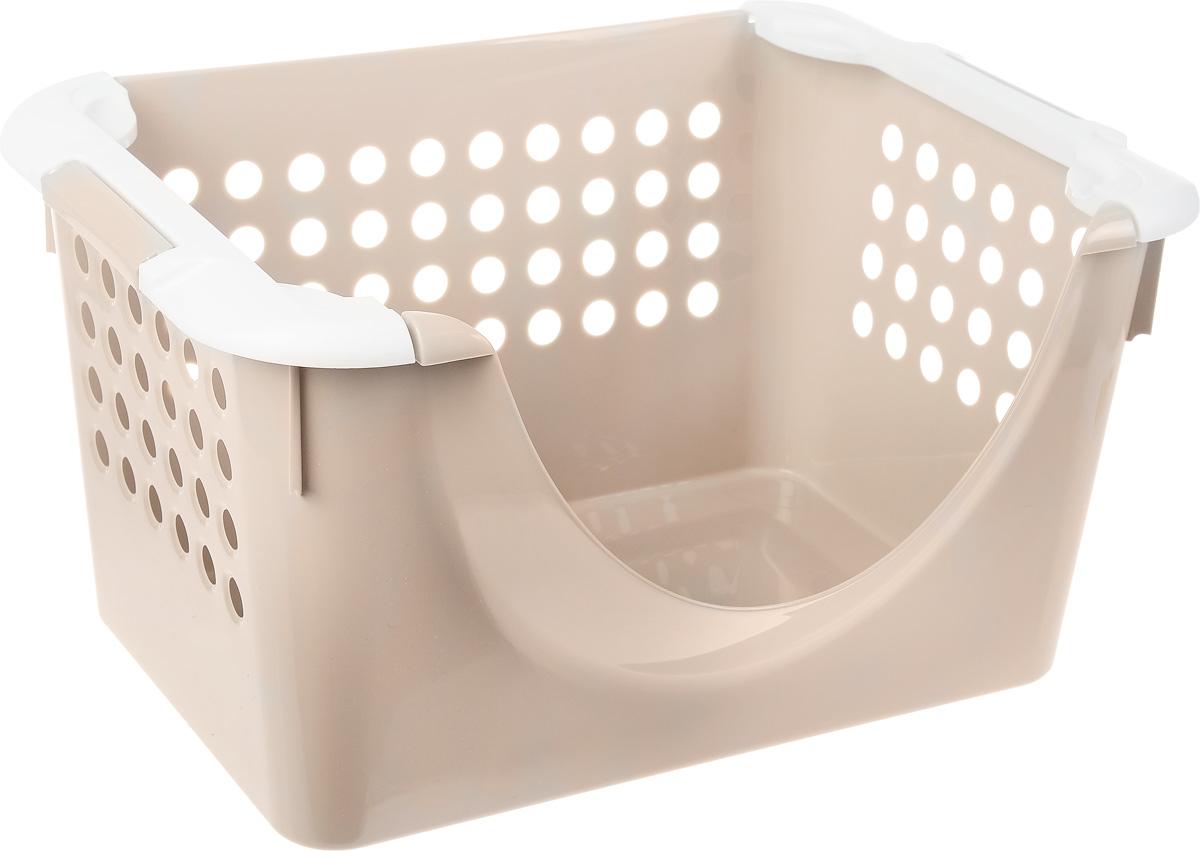 Корзинка универсальная Econova, с ручками, цвет: бежевый, белый, 30 х 22 х 43 см780869_бежевый,белыйУниверсальная корзина Econova, выполненная из прочного пластика, предназначена для хранения вещей в ванной, на кухне, даче или гараже. Позволяет хранить вещи, исключая возможность их потери. Корзина оснащена двумя удобными ручками для переноски. Боковые стенки перфорированы.