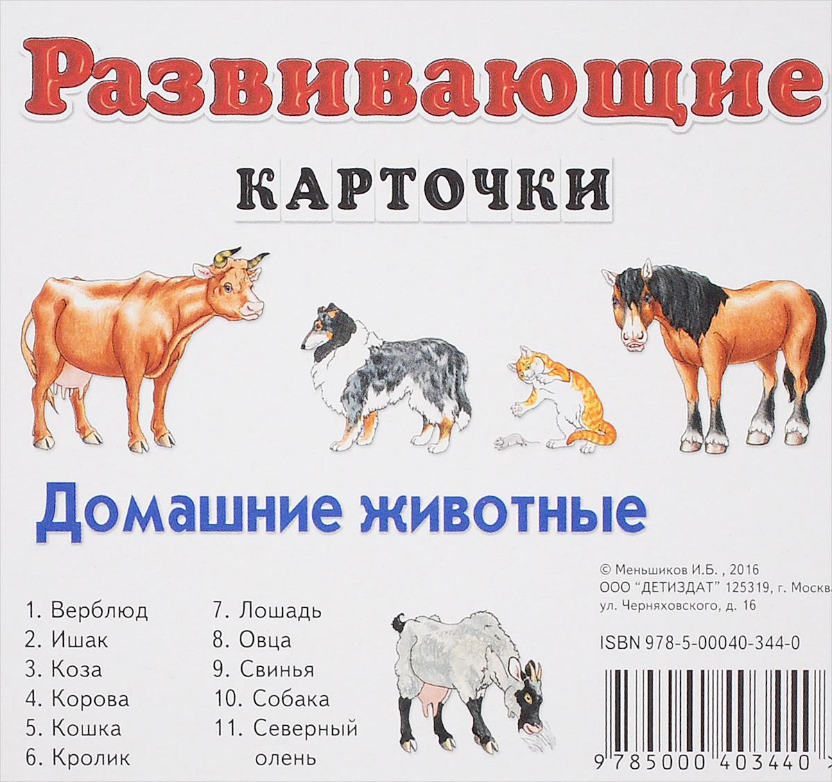 И. Б. Меньшиков Домашние животные. Развивающие карточки (набор из 11 карточек) ISBN: 978-5-00040-344-0