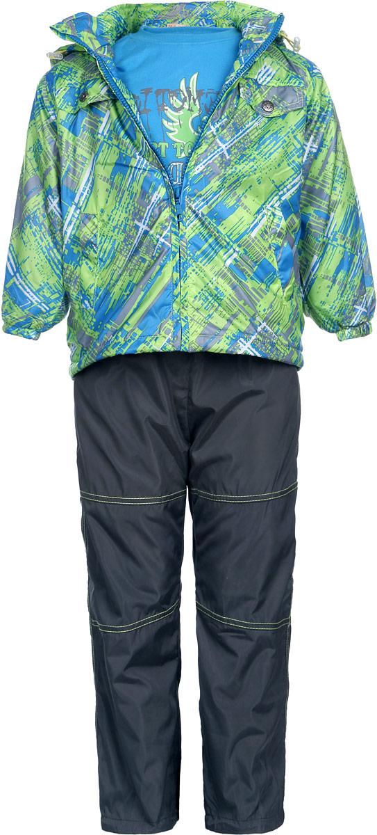 Комплект для мальчика M&D: футболка с длинным рукавом, куртка, брюки, цвет: голубой, салатовый, серый, темно-серый. 111606RD-10. Размер 116111606RD-10Комплект для мальчика M&D, состоящий из футболки с длинным рукавом, куртки и брюк, идеально подойдет для вашего ребенка в прохладное время года. Куртка изготовлена из 100% полиэстера с подкладкой из мягкого флиса. Модель с воротником-стойкой, съемным капюшоном на молнии и длинными рукавами застегивается на пластиковую застежку-молнию с защитой подбородка. Низ рукавов присборен на резинки. Предусмотрена утяжка в виде резинок со стопперами: на капюшоне и внутри изделия понизу. Спереди имеются два прорезных кармана и две имитации карманов, представленных в виде клапанов с декоративными кнопками. Оформлена куртка оригинальным принтом. Брюки выполнены из 100% полиэстера с подкладкой из натурального хлопка. Модель на талии имеет широкую резинку, благодаря чему брюки не сдавливают живот ребенка и не сползают. По бокам модель дополнена двумя втачными кармашками со скошенными краями. Понизу брючин предусмотрена утяжка в виде резинок со стопперами. Оформлено изделие контрастной прострочкой.Светоотражающие элементы на куртке и брюках не оставят вашего ребенка незамеченным в темное время суток. Футболка с длинным рукавом изготовлена из натурального хлопка. Модель с круглым вырезом горловины оформлена на груди оригинальным принтом. Горловина дополнена мягкой трикотажной резинкой. Комфортный, удобный и практичный комплект идеально подойдет для прогулок и игр на свежем воздухе!