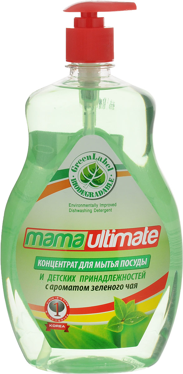 Гель для мытья посуды и детских принадлежностей Mama Ultimate, концентрат, с ароматом зеленого чая, 1 л49139Гель для мытья посуды и детских принадлежностей Mama Ultimate прекрасно моет в воде любой жесткости и температуры. Подходит для мытья посуды из фарфора, хрусталя, стекла, тефлона, пластика, металла и другого материала, а также может использоваться для мытья овощей и фруктов. Гель растворяет жиры, смывает остатки пищи, не оставляет разводов и пятен на посуде. Благодаря антибактериальной биоразлагаемой формуле и густой консистенции средство обеспечивает минимальный расход. Содержит минеральные экстракты, которые позволяют мыть посуду, не иссушая и не раздражая кожу рук.Состав: 30% и более вода, 5% или более, но менее 15% натрия лауретсульфат, менее 5% алкилбензолсульфокислота, хлорид натрия, гидроксид натрия, метилизотиазолинол и метилхлоризотиазолинол, триолан Б, парфюмерная композиция, краситель. Товар сертифицирован.