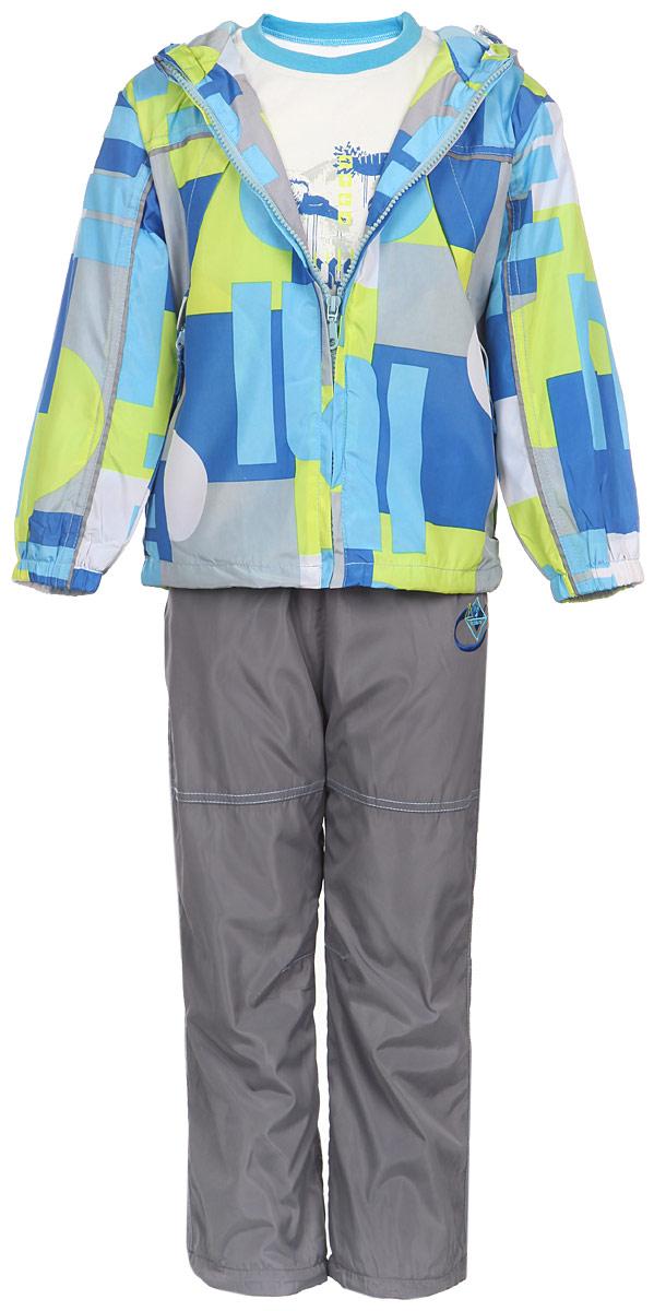 Комплект для мальчика M&D: футболка с длинным рукавом, ветровка, брюки, цвет: синий, лайм, серый, белый. 111618D-20. Размер 110111618D-20Комплект для мальчика M&D, состоящий из футболки с длинным рукавом, ветровки и брюк, идеально подойдет для вашего ребенка в прохладное время года.Ветровка изготовлена из 100% полиэстера с подкладкой из натурального хлопка. Модель с несъемным капюшоном застегивается на пластиковую застежку-молнию с защитой подбородка. Низ рукавов присборен на резинки. Предусмотрена утяжка в виде резинок со стопперами: на капюшоне и внутри изделия понизу. Спереди имеются два прорезных кармана на застежках-молниях. Оформлена ветровка геометрическим принтом. Брюки выполнены из 100% полиэстера с подкладкой из натурального хлопка. Модель на талии имеет широкую резинку, благодаря чему брюки не сдавливают живот ребенка и не сползают. По бокам модель дополнена двумя втачными кармашками со скошенными краями. Понизу брючин предусмотрена утяжка в виде резинок со стопперами. Оформлено изделие оригинальной вышивкой. Светоотражающие элементы на ветровке и брюках не оставят вашего ребенка незамеченным в темное время суток. Футболка с длинным рукавом изготовлена из натурального хлопка. Модель с круглым вырезом горловины оформлена на груди оригинальным принтом. Горловина дополнена мягкой трикотажной резинкой. Комфортный, удобный и практичный комплект идеально подойдет мальчику для прогулок и игр на свежем воздухе!