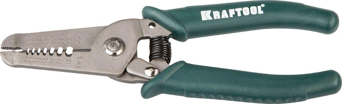 Пассатижи для снятия изоляции Kraftool, 0,8-2,6 мм, 150 мм22660-15Пассатижи для снятия изоляции Kraftool изготовлены из хромомолибденовой легированной стали. Оксидированное отполированное покрытие создает защиту от коррозии. Кромки, производящие резку, и поверхность губок подвержены закалке высокочастотными токами, что увеличивает срок службы инструмента. Рукоятки из противоскользящего пластика обеспечивают надежный захват, даже если на руках находится масло, что делает удобной работу в различных условиях. Форма шарнира сводит к минимуму риск возникновения люфтов. Размеры: 0,8-2,6 мм, 150 мм.